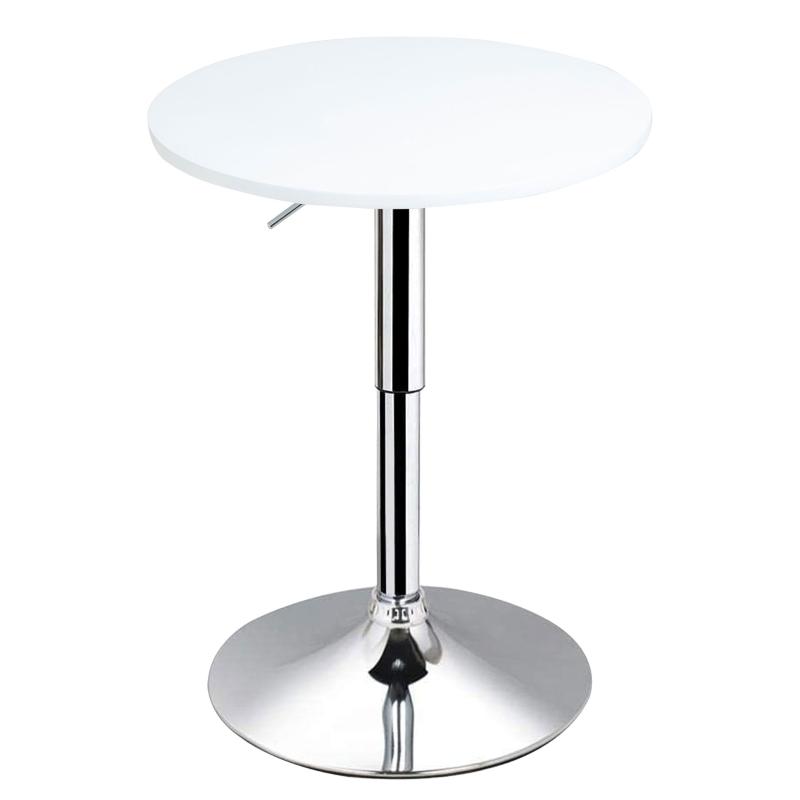 HOMCOM Φ60cm Adjustable Height Round Bar Table w/ Swivel Top Metal Frame Stylish White