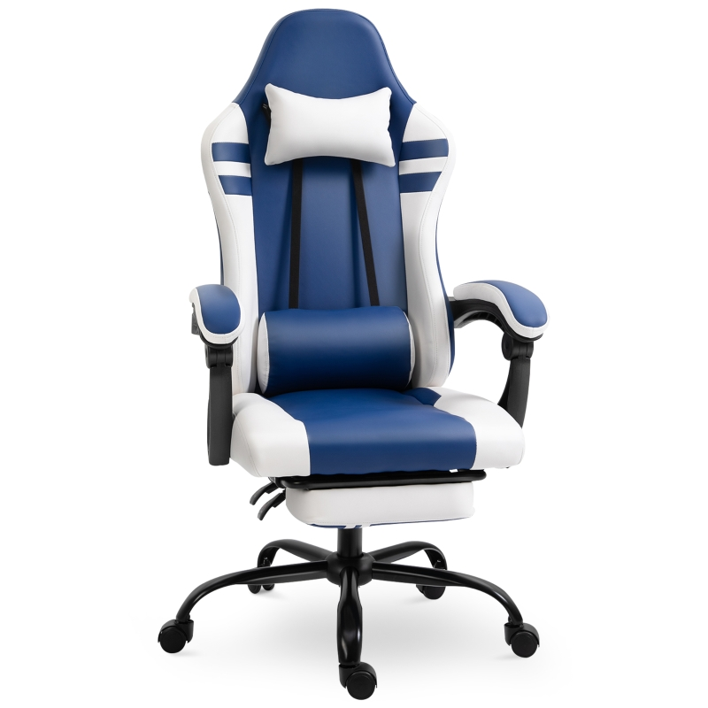 Vinsetto PU Leather Ergonomic Reclining Gaming Chair w/ Retractable Footrest Blue/White