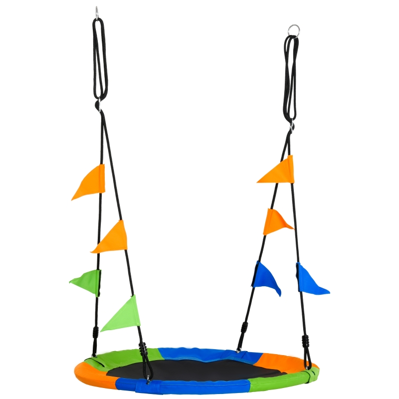 Outsunny Saucer Tree Swing Set with Adjustable Rope Waterproof Seat Steel Frame Backyard