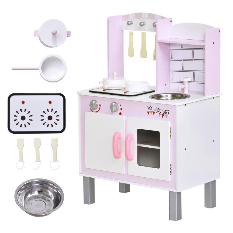HOMCOM Kids Pretend Kitchen Playset w/ Cooking Toy Accessories - Pink