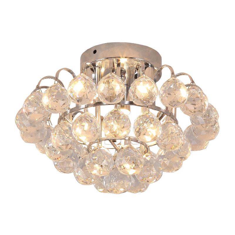 HOMCOM 30x30cm K9 Crystal Droplets Ceiling Pendant Light Silver
