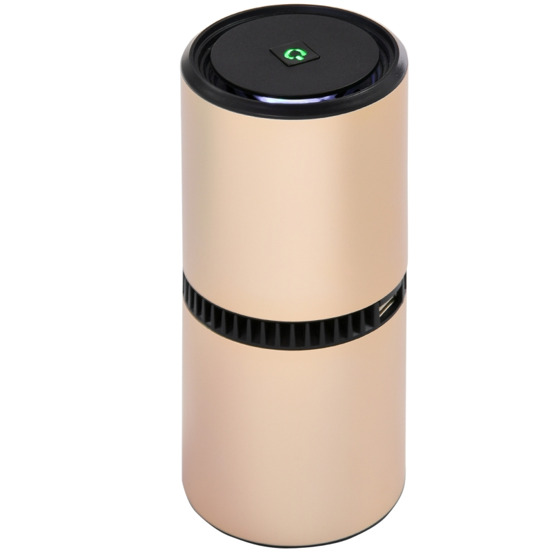 HOMCOM Portable Air Purifier with 2 USB Plug for Car Home Office Dust Odor Gold