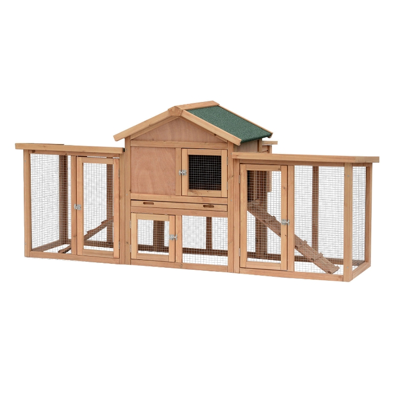 PawHut Wooden Chicken Coop Backyard Hen Cage House Poultry w/ Nesting Box Run