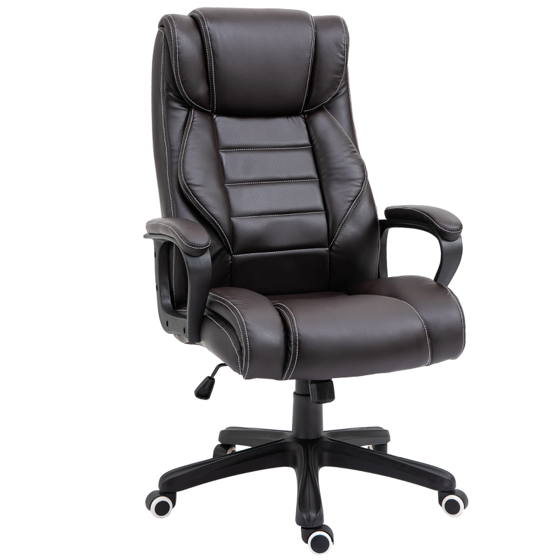 Vinsetto High Back Executive Office Chair PU Leather Upholstered Ergonomic Massage Chair Brown