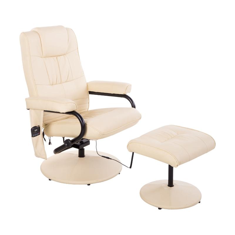 Massagestoel incl. krukje tv-stoel relaxstoel met warmtefunctie wit