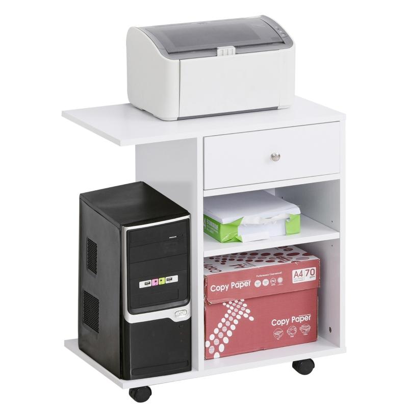 Printertafel trolley printerstandaard met laden + planken + CPU-standaard wit