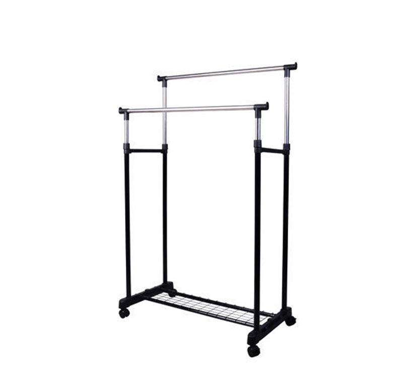 Garderobestandaard kledingstangen met 2 kledingstangen rolbaar in hoogte verstelbaar