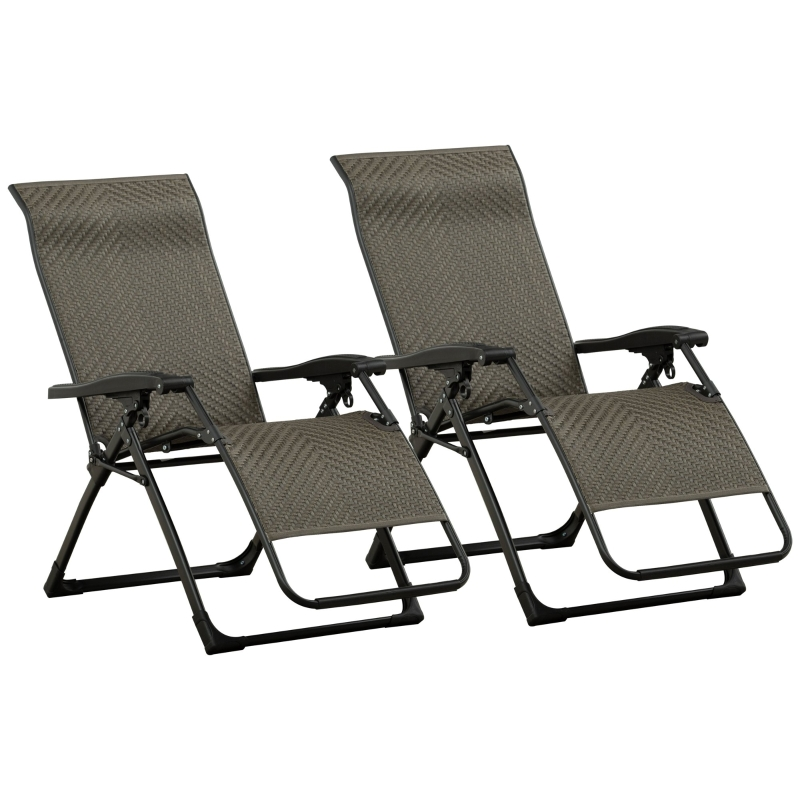 Outsunny Set of 2 Zero Gravity Wicker Lounger Chair Folding Recliner Indoor Outdoor Grey