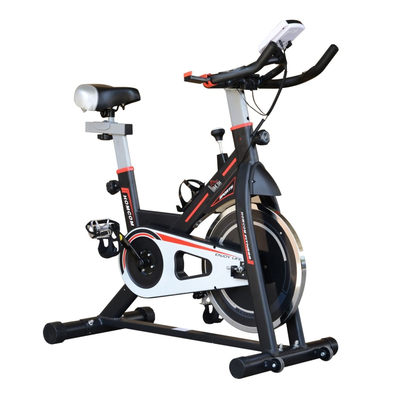 HOMCOM 8kg Flywheel Exercise Bike Racing Bicycle Home Fitness Trainer with LCD Display Adjustable Resistance - Black
