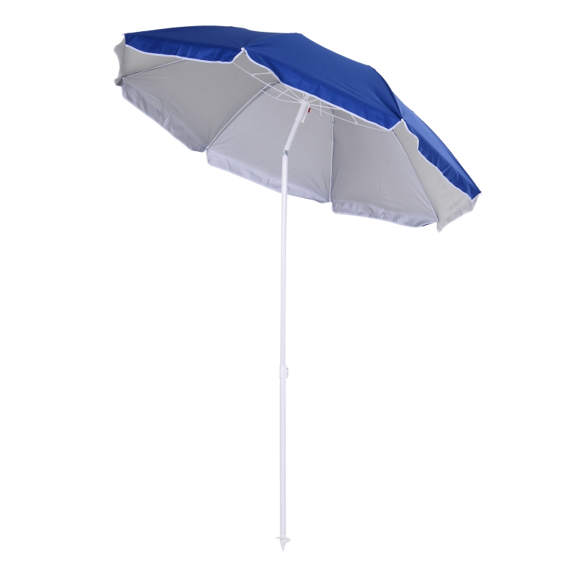 Outsunny 1.7m x 2m Tilted Steel Frame Beach Parasol Blue
