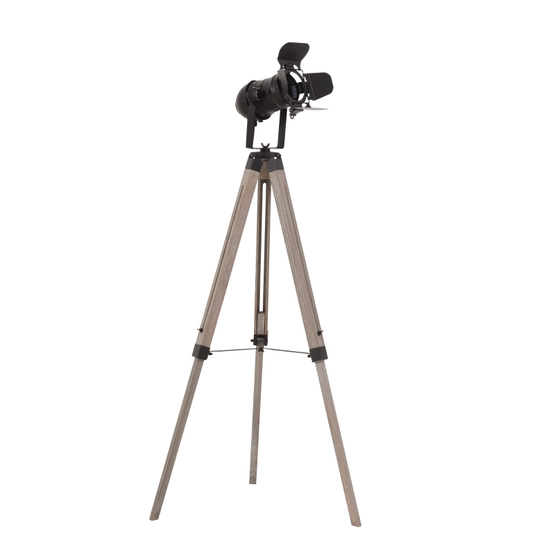 HOMCOM Pine Wood Camera Tripod Floor Lamp Black