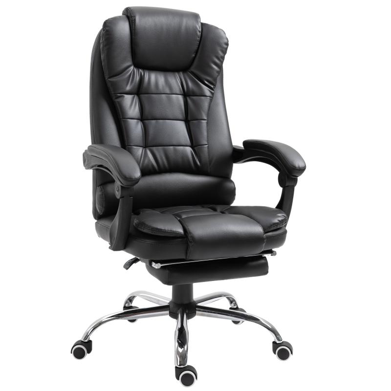 HOMCOM Recliner PU Office Chair W/Footrest-Black