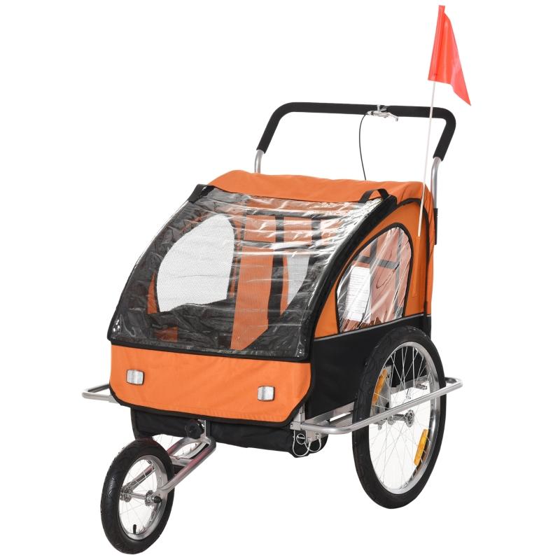 HOMCOM Steel Frame Children's 2-Seater Jogger Trailer Orange