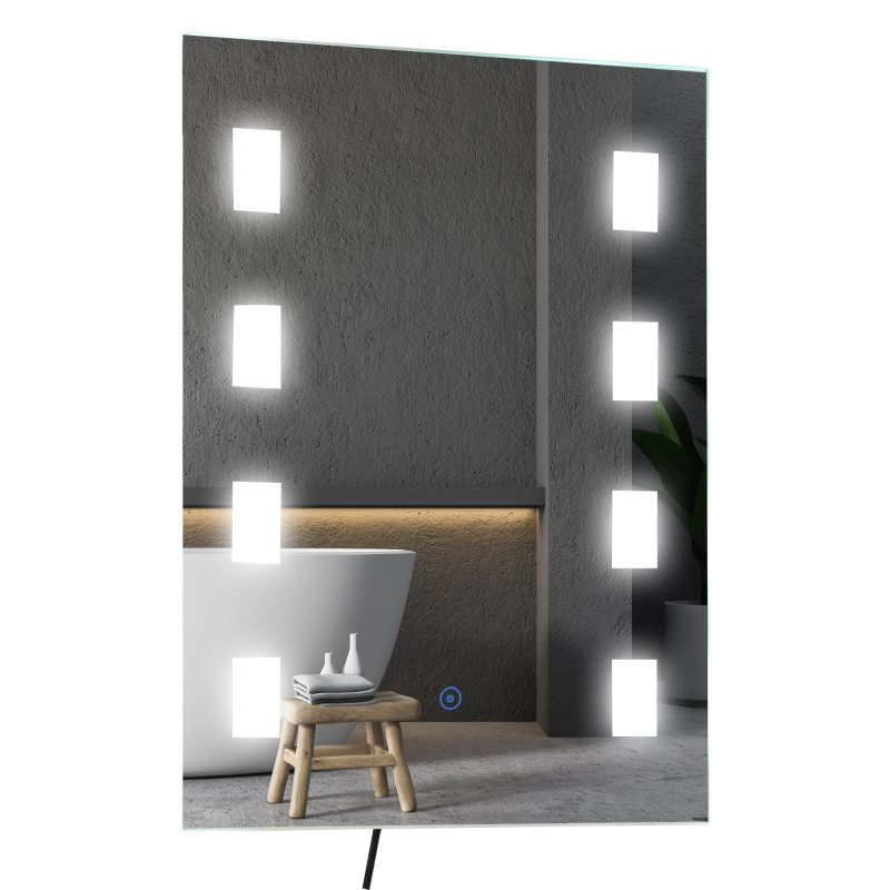 HOMCOM lichtspiegel LED-spiegel badspiegel badkamerspiegel wandspiegel zilver