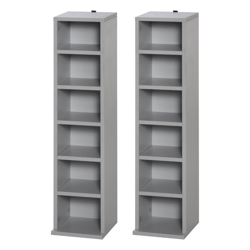HOMCOM Set of 2 CD Media Display Shelf Unit Tower Rack w/ Adjustable Shelves Grey