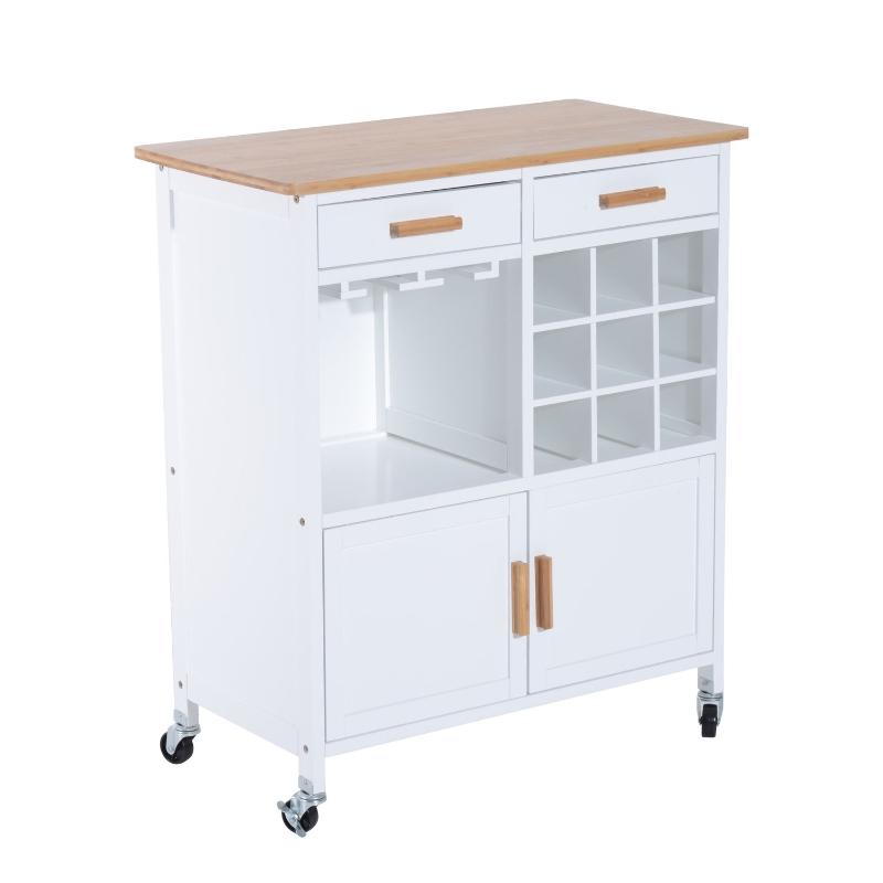 Keukentrolley bijzettrolley serveerwagen keukentrolley keukenplank met wijnrek