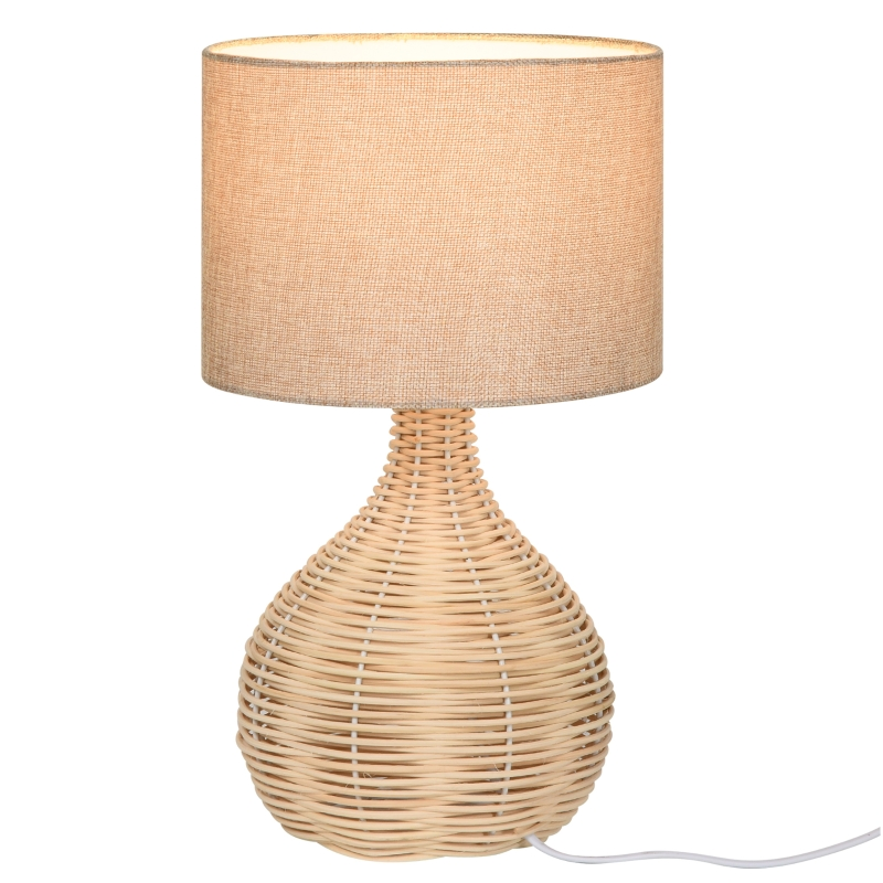 Tafellamp Tafellamp E27-fitting nachttafellampje rotan linnen staal beige