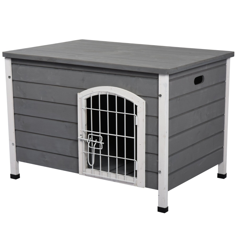 PawHut Wooden Dog Crate Kennel Lockable Door Small Animal House w/ Openable Top Gray