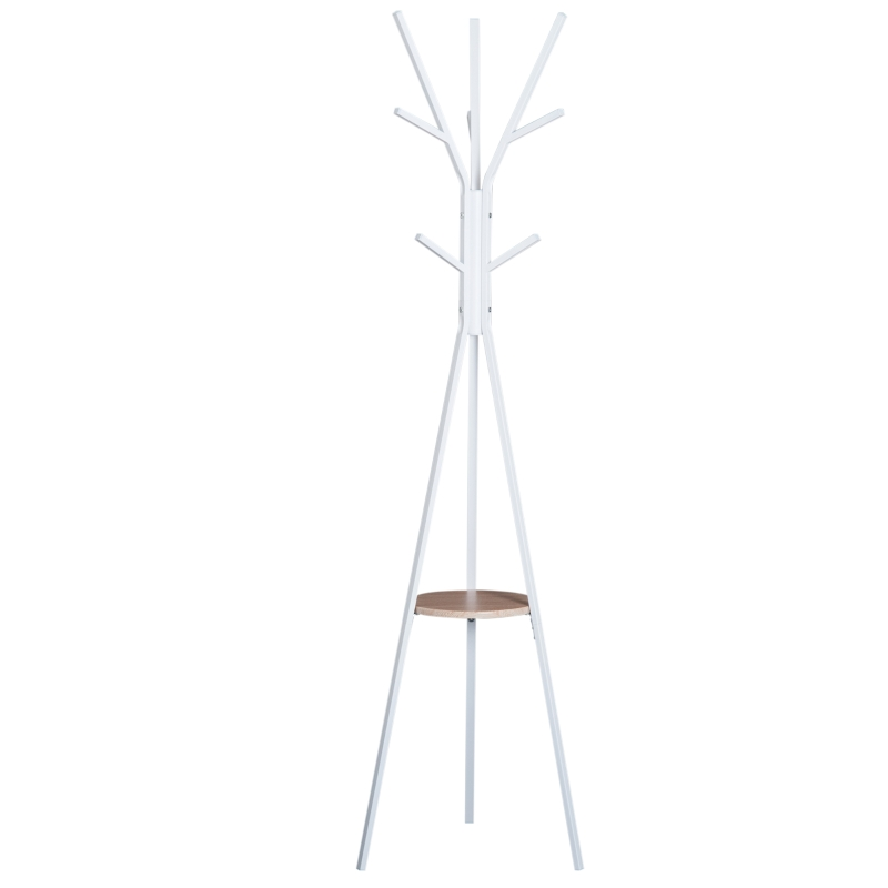 HOMCOM 180cm Free Standing Coat Rack Metal Shelf Holder Stand Display Clothes Hat Hanger Hall Tree 9 Hooks