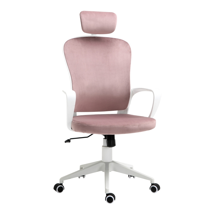 Vinsetto High-back Rocking Chair Velvet Style Fabric w/ adjustable headrest pink/white