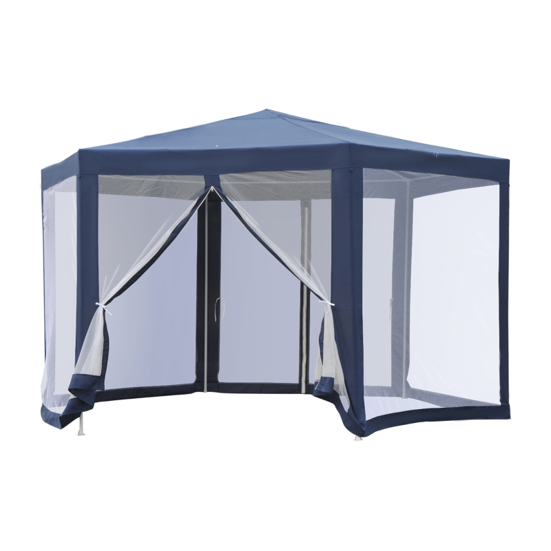 Outsunny Hexagonal Patio Gazebo Outdoor Canopy Party Tent Activity Event w/ Mosquito Net