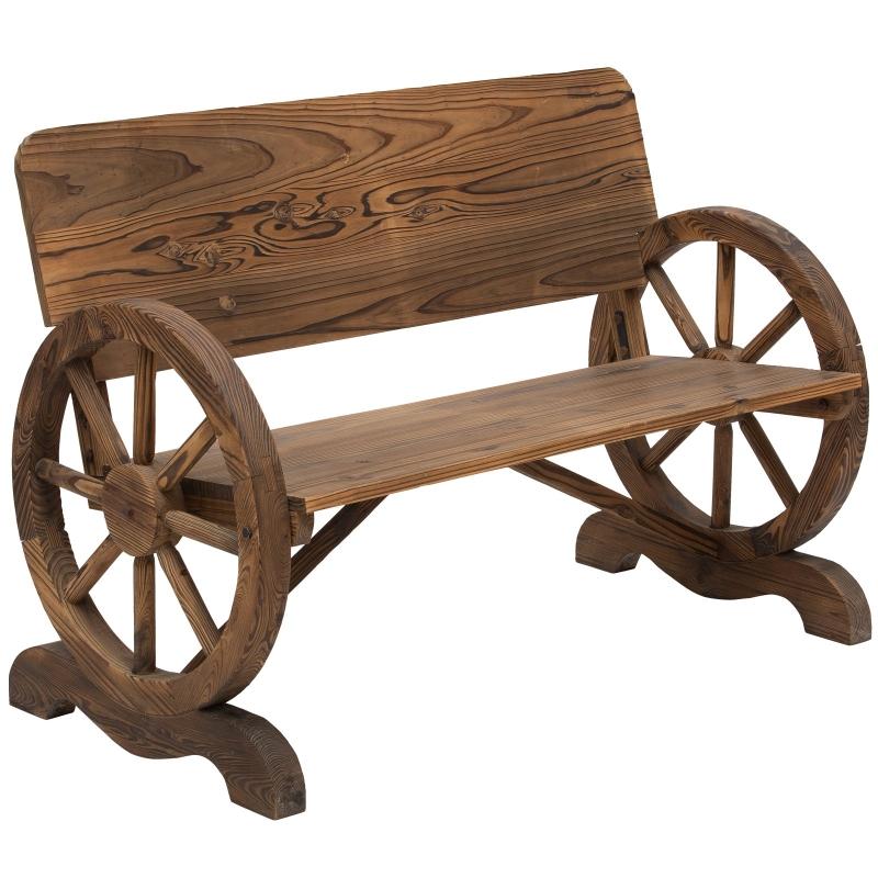 Outsunny Fir Wood 2-Seater Outdoor Garden Wagon Wheel Bench
