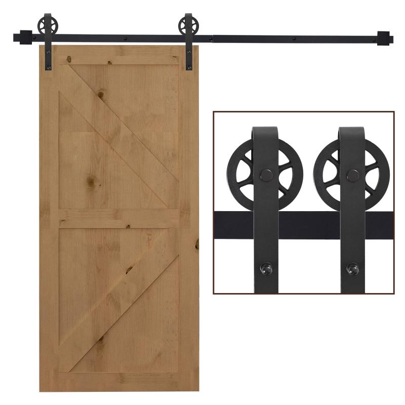 HOMCOM Sliding Wood Barn Door Hardware Kits Track Roller