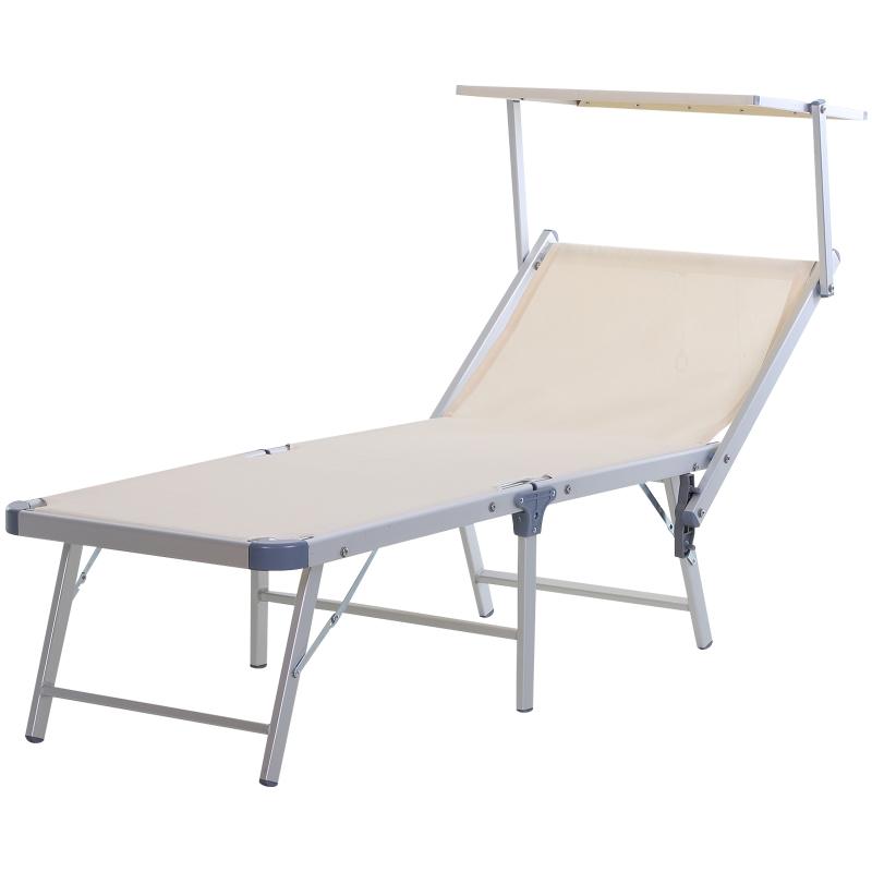 Outsunny Outdoor Sun Lounger w/ Overhead Canopy Aluminium Adjustable Texteline Seat Beige