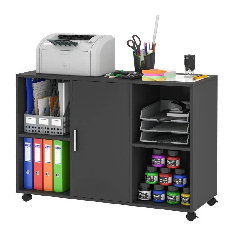 Vinsetto Mobile Printer Stand File Cabinet 360 Degree Casters E1 Particle Board Black