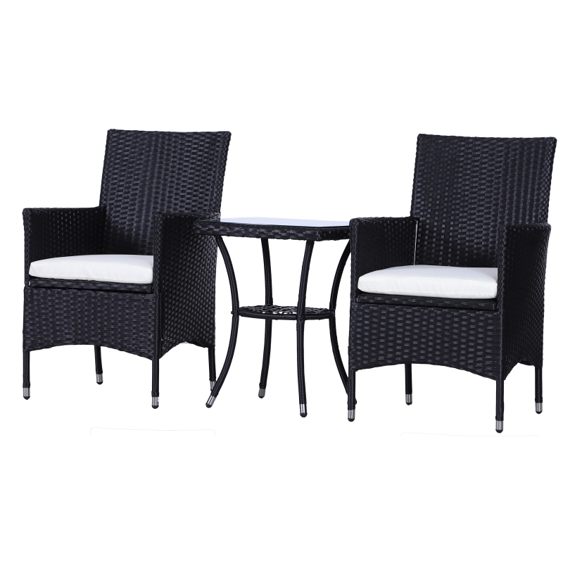 Outsunny 2 Seat Twin Rattan Bistro Chair and Table Set Black