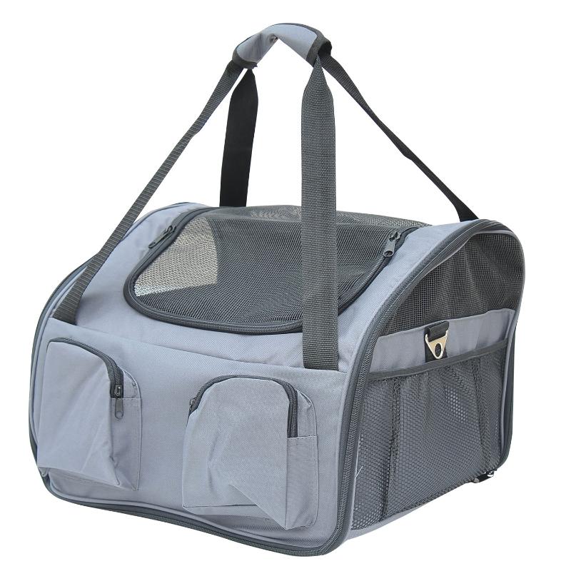 Pawhut 41Lx34Wx30H cm Pets Carrier Folding Bag-Grey