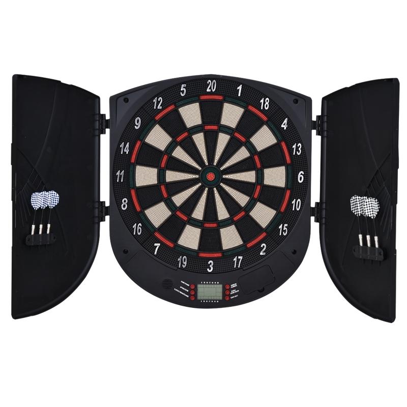 Elektronisch dartbord dartschijf dartset met 6 darts zwart + oranje 8 spelers