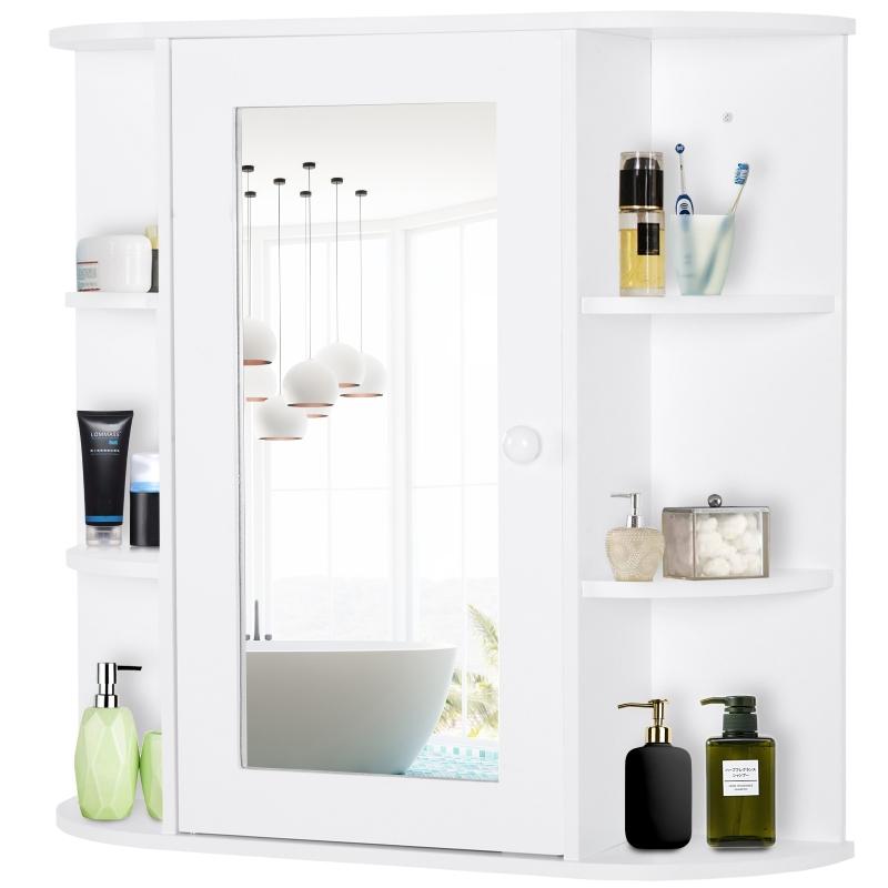 HOMCOM Wall Mount Mirror Cabinet Storage Bathroom Cupboard w/ Single Door and Shelves