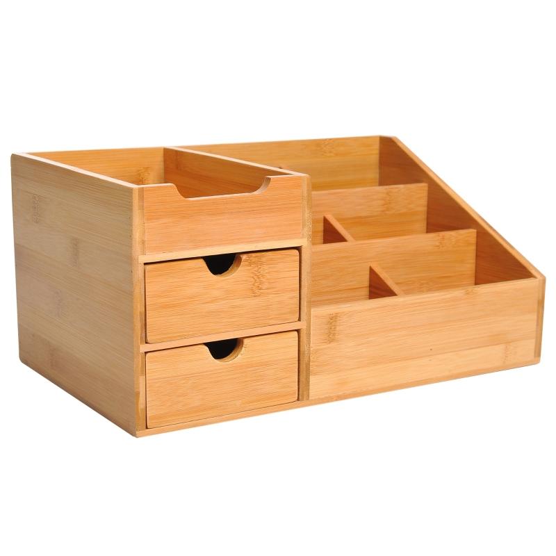HOMCOM Bamboo Desktop Organiser Holder Multi-Function Storage Caddy Drawers Office Supply