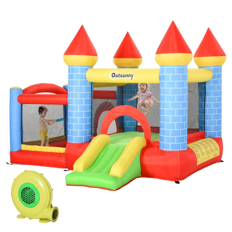 Outsunny Kids Bounce Castle Inflatable Trampoline Slide Pool Basket 3 x 2.75 x 2.1m