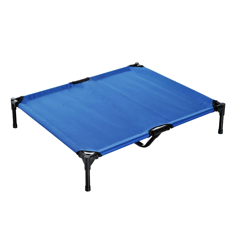 PawHut Large Dogs Portable Elevated Fabric Bed for Camping Outdoors Blue