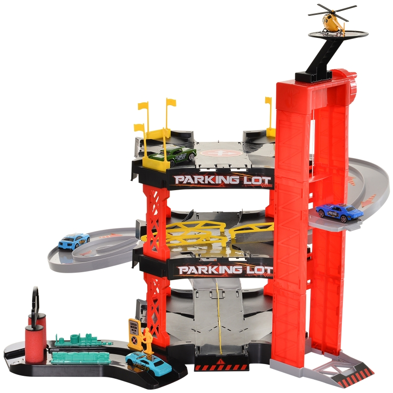 HOMCOM Rennbahn Kinder Autorennbahn Parkgarage für Spielzeugautos Dreistufig großes 55-Teilig Spielset mit Hubschrauber Rot+Schwarz 62x52x51 cm