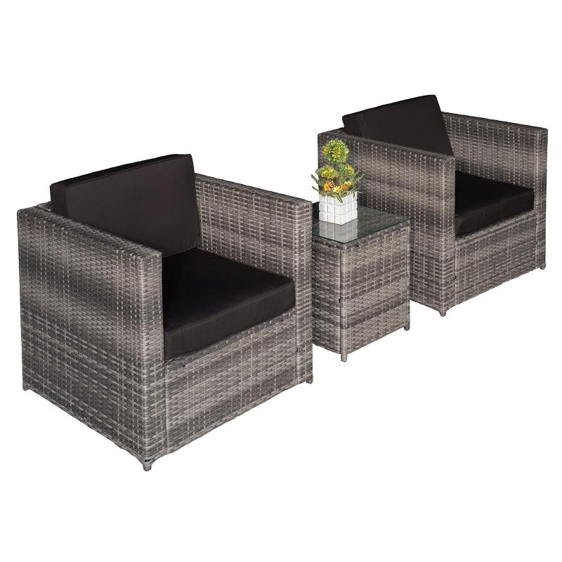 Outsunny 3 Pcs Rattan Sofa  Furniture Set W/Cushions, Steel Frame-Grey