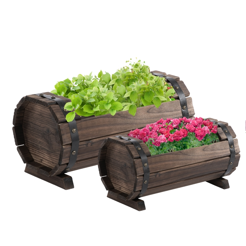 Outsunny 2PCs Wooden Flower Plant Pot Outdoor&Indoor Plant Box with Solid Wood