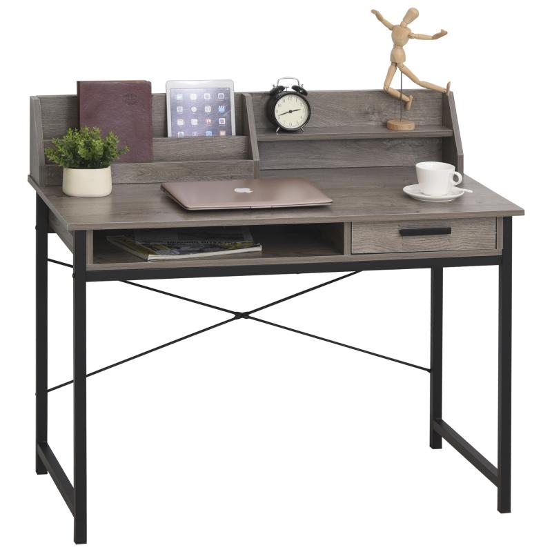 Bureau met plank schuiflade computertafel bureau kantoortafel industriële stijl MDF