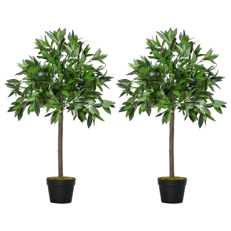 Outsunny Set of 2 Artificial Topiary Bay Laurel Ball Trees in Pot Indoor Outdoor, 90cm
