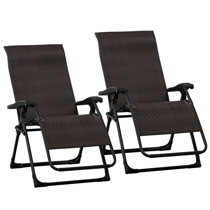 Outsunny Set of 2 Zero Gravity Wicker Lounger Chair Folding Recliner Indoor Outdoor Brown