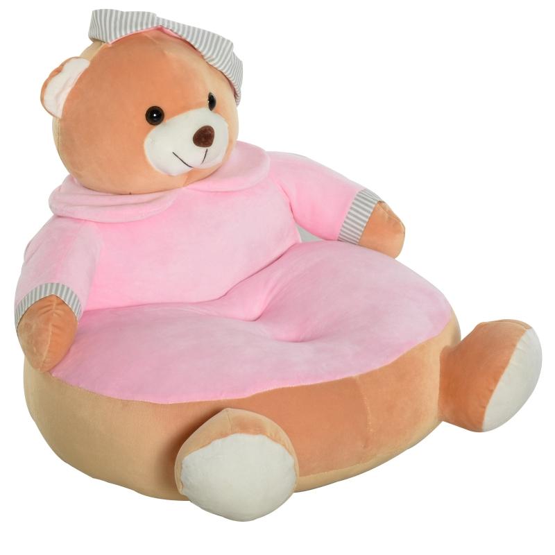 HOMCOM Animal Kids Sofa Chair Cute Pajamas Bear with Armrest for 18-36 months Pink