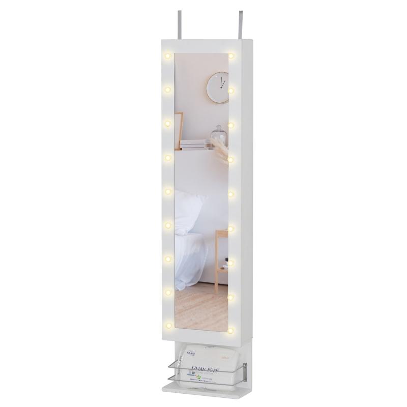 HOMCOM MDF 18-LED Light Glass Mirror Jewellery Cabinet White