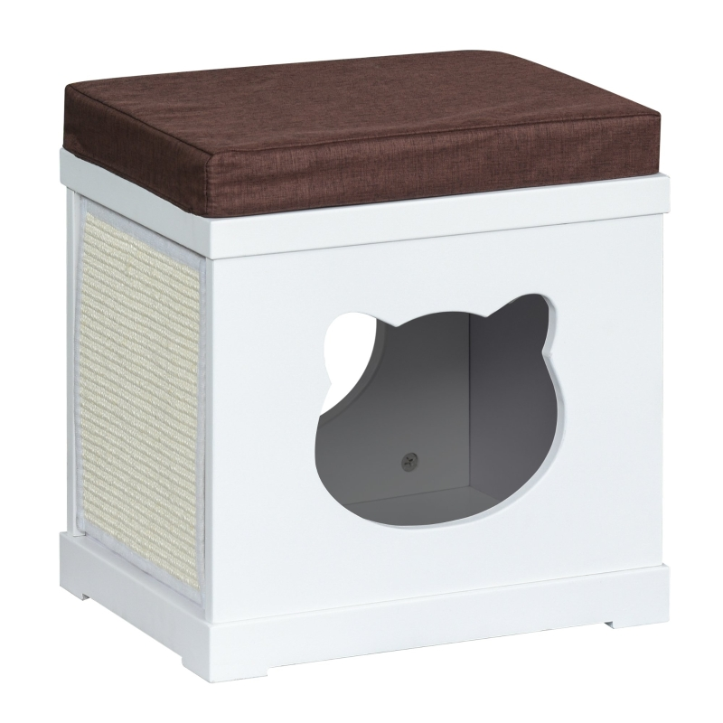 PawHut Wooden Cat House for Small Cat w/ Removable Scratching Pad and Soft Cushion