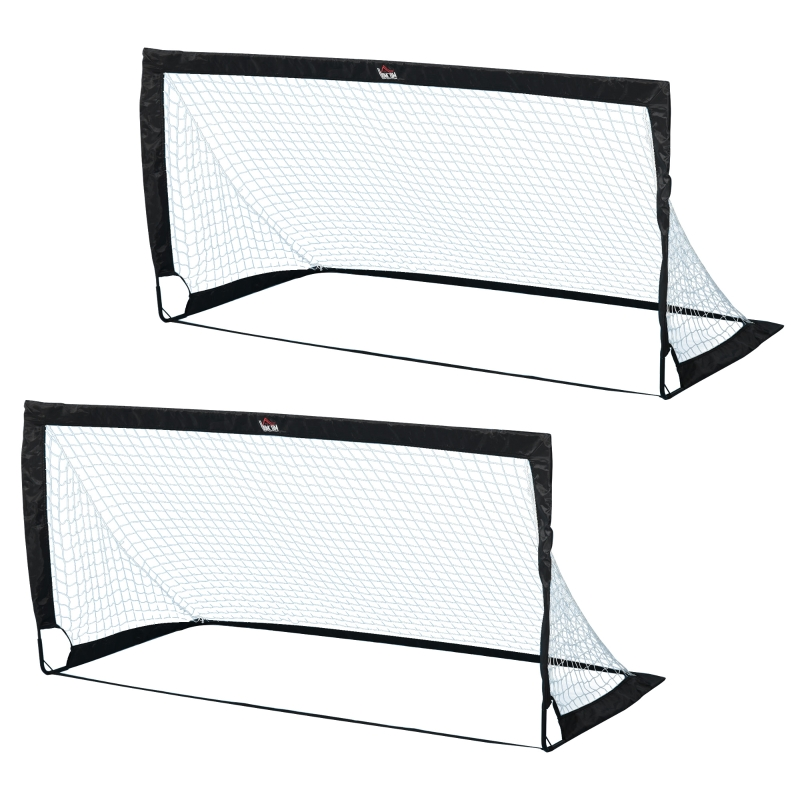HOMCOM Steel Frame Weather Resistant Football Goal Black