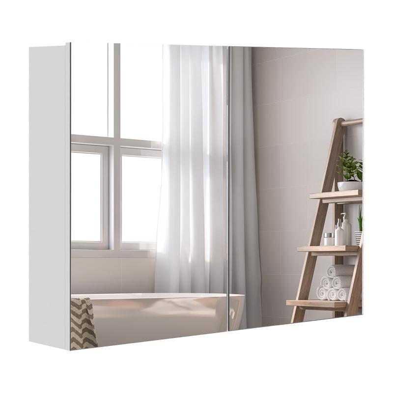 HOMCOM Wall Cabinet Mirror Bathroom Double Door Modern Lights Storage Lamp