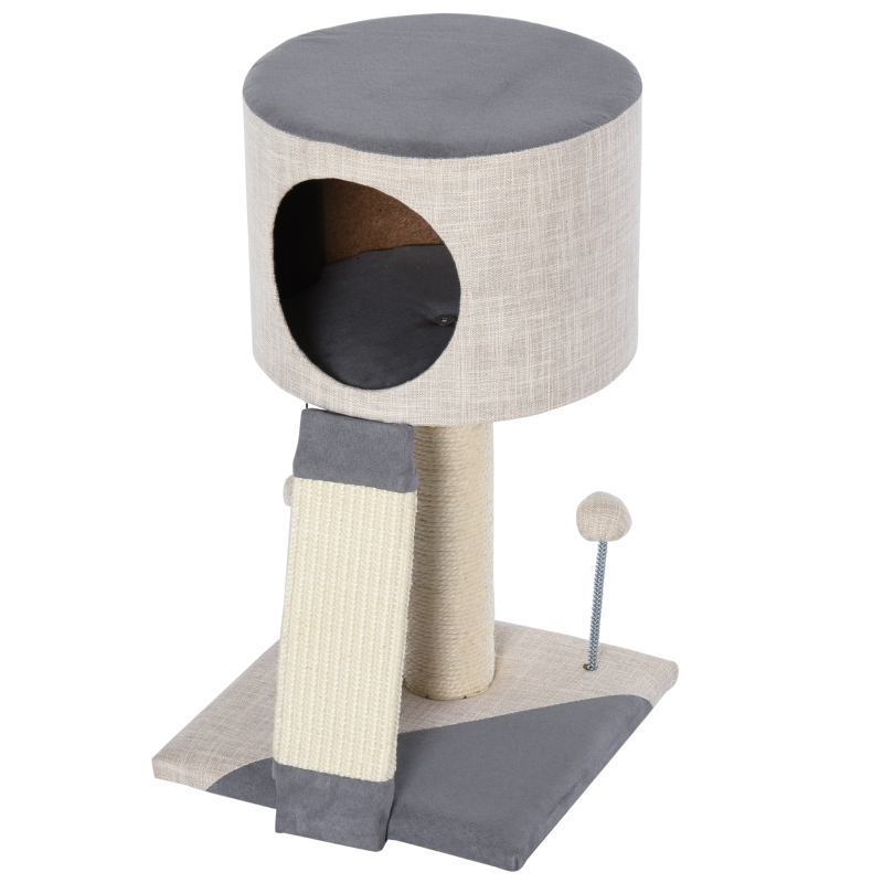 PawHut Cat Tree Tower Activity Center w/ Sisal & Funny Ball Condo
