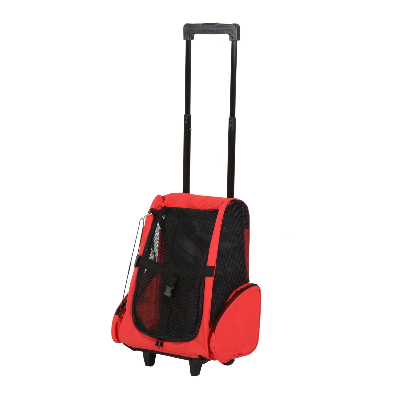 Pawhut Travel Backpack w/ Trolley, Steel Wire Frame-Red