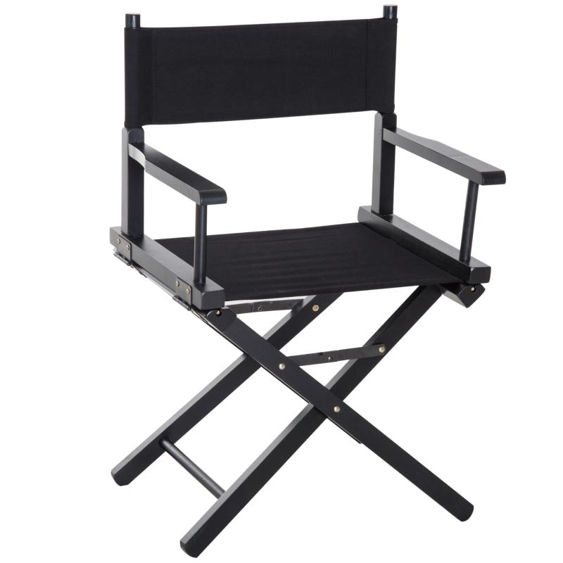 HOMCOM Wooden Director's Folding Chair, Oxford Fabric, Beech,54L-Black